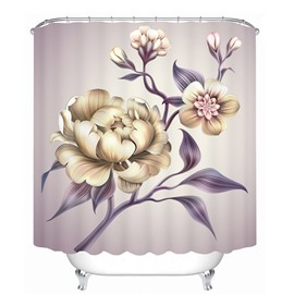 Hand Painted Peony  3D Printed Bathroom Waterproof Shower Curtain