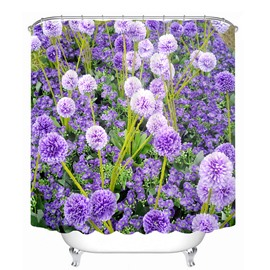 Romantic Purple Lavender 3D Printed Bathroom Waterproof Shower Curtain