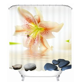 Vivid Lily on the Water 3D Printed Bathroom Waterproof Shower Curtain