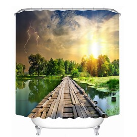 The Wooden Bridge on the Lake 3D Printed Bathroom Waterproof Shower Curtain