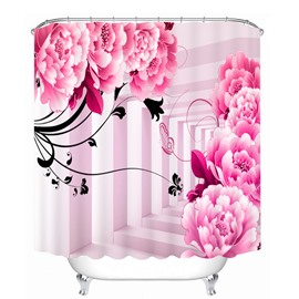 Cute Pink Peony and Butterfly 3D Printed Bathroom Waterproof Shower Curtain