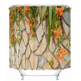 Stone Wall with Orange Flowers 3D Printed Bathroom Waterproof Shower Curtain