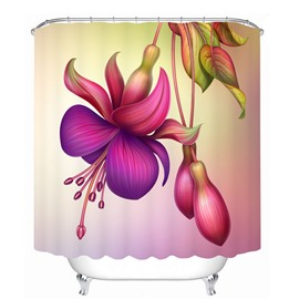 Decoration Colored Flowers 3D Printed Bathroom Waterproof Shower Curtain