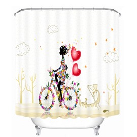 Butterfly Girl Riding the Bike with Love 3D Printed Bathroom Waterproof Shower Curtain