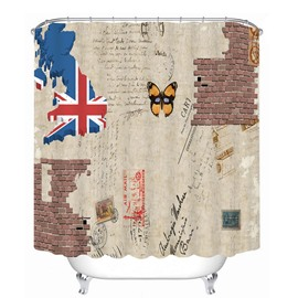 Retro British Romantic 3D Printed Bathroom Waterproof Shower Curtain