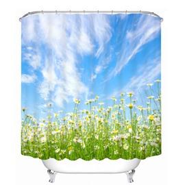 Daisy Field in Blue Sky 3D Printed Bathroom Waterproof Shower Curtain