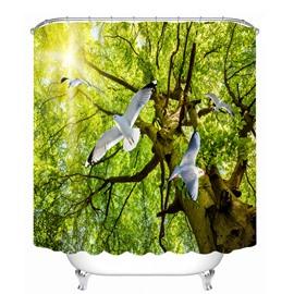 White Pigeons Flying from Tree 3D Printed Bathroom Waterproof Shower Curtain