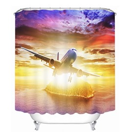 The Plane Rushing to the Sky 3D Printed Bathroom Waterproof Shower Curtain