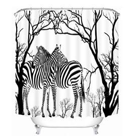 Hand Painted Zebra and Tree 3D Printed Bathroom Waterproof Shower Curtain