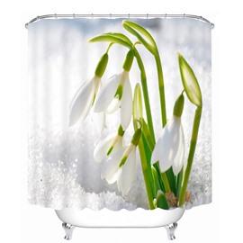 Vivid Leucojum Vernum 3D Printed Bathroom Waterproof Shower Curtain