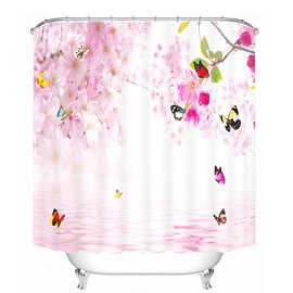 Butterflies flying around Peach Blossom 3D Printed Bathroom Waterproof Shower Curtain