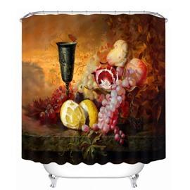 Oil Painting Fruit and Wine 3D Printed Bathroom Waterproof Shower Curtain