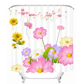 Hand Painted Colored Flowers 3D Printed Bathroom Waterproof Shower Curtain