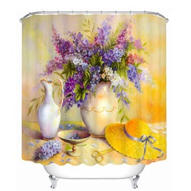Oil Painting Flowers and Yellow Hat 3D Printed Bathroom Waterproof Shower Curtain