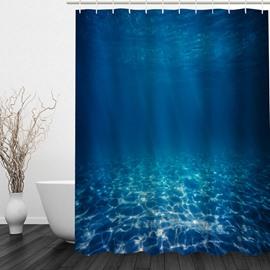 Deep Blue Sea 3D Printed Bathroom Waterproof Shower Curtain