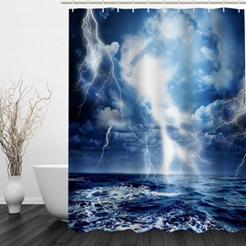 The Lighting on the Sea 3D Printed Bathroom Waterproof Shower Curtain