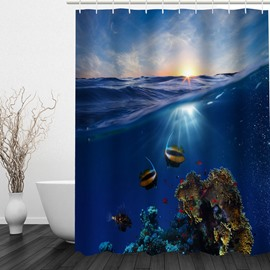 Beautiful Word Under Sea 3D Printed Bathroom Waterproof Shower Curtain