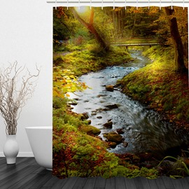 Autumn Scenery 3D Printed Bathroom Waterproof Shower Curtain