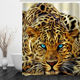 3D Leopard with Blue Eyes Printed Polyester Bathroom Shower Curtain
