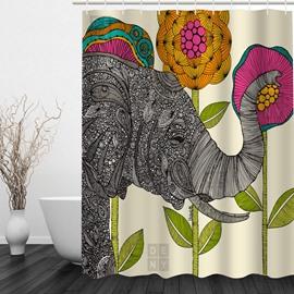 Designer Elephant with Flowers 3D Printed Bathroom Waterproof Shower Curtain
