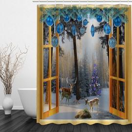 Reindeer outside the Window 3D Printed Bathroom Waterproof Shower Curtain