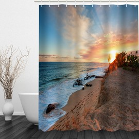 The Coast at Dusk 3D Printed Bathroom Waterproof Shower Curtain
