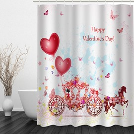 Romantic Love Carriage 3D Printed Bathroom Waterproof Shower Curtain