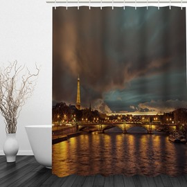 The Paris Night 3D Printed Bathroom Waterproof Shower Curtain