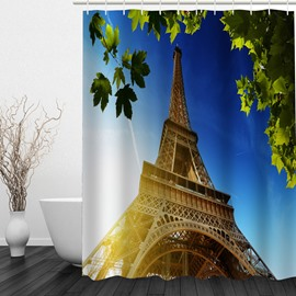 Picturesque Eiffel Tower 3D Printed Bathroom Waterproof Shower Curtain