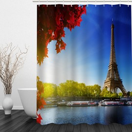 Eiffel Tower in Sunny Day 3D Printed Bathroom Waterproof Shower Curtain