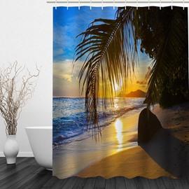 The Dusk of Island 3D Printed Bathroom Waterproof Shower Curtain