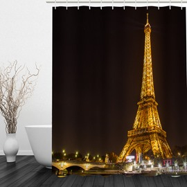 The Illuminated Eiffel Tower 3D Printed Bathroom Waterproof Shower Curtain