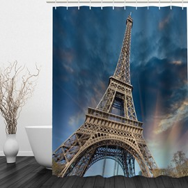 3D Eiffel Tower Printed Sky Blue Bathroom Shower Curtain