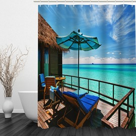 Seaside Vacation 3D Printed Bathroom Waterproof Shower Curtain