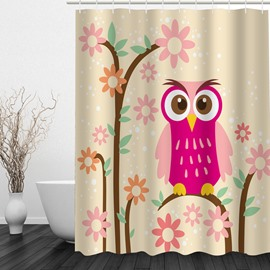 Pink Cartoon Owl 3D Printed Bathroom Waterproof Shower Curtain