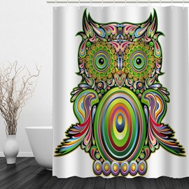 Colored Cartoon Owl 3D Printed Bathroom Waterproof Shower Curtain