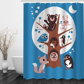 Cartoon Animals 3D Printed Bathroom Waterproof Shower Curtain