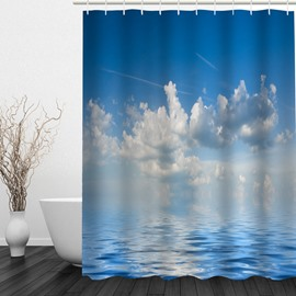 Calm Sea Waves and Blue Sky 3D Printed Bathroom Waterproof Shower Curtain