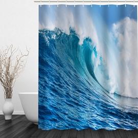 Blue Waves 3D Printed Bathroom Waterproof Shower Curtain