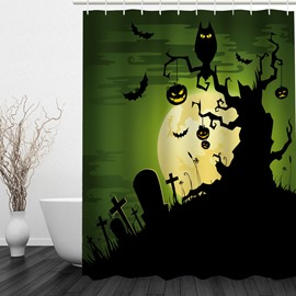 Horror Halloween Night 3D Printed Bathroom Waterproof Shower Curtain