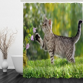 Cute Cat Playing 3D Printed Bathroom Waterproof Shower Curtain