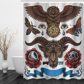 Death and Time 3D Printed Bathroom Waterproof Shower Curtain