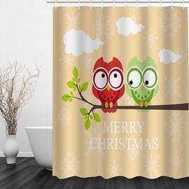 Cartoon Owl Lover 3D Printed Christmas Theme Shower Curtain