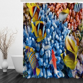Colored Tropical Fish 3D Printed Bathroom Waterproof Shower Curtain