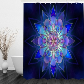 Abstract Blue Flower 3D Printed Bathroom Waterproof Shower Curtain