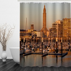 City Terminal Scenery 3D Printed Bathroom Waterproof Shower Curtain