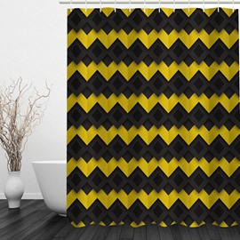 Black and Yellow Chevron 3D Printed Bathroom Waterproof Shower Curtain