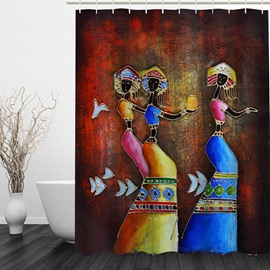 Abstract Art Beautiful Girl 3D Printed Bathroom Shower Curtain