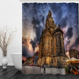 Magnificent Castle 3D Printed Bathroom Waterproof Shower Curtain