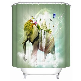3D Mouldproof Transformed Elephant Printed Polyester Green Bathroom Shower Curtain